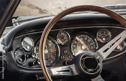 Keuken foto achterwand Vintage cars Oldtimer Fahrzeug Innenraum Amatur