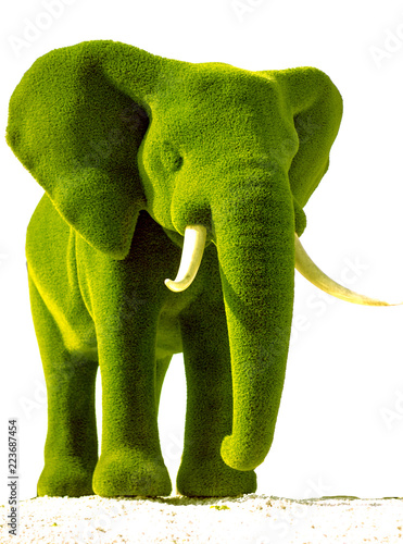 Artificial elephant green grass from a grass on a white background Wallpaper Mural
