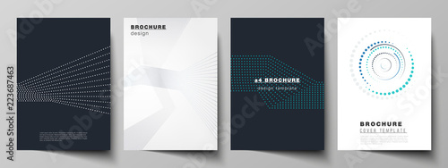 Photo The vector illustration of the editable layout of A4 format cover mockups design templates with geometric background made from dots, circles for brochure, magazine, flyer, booklet, annual report