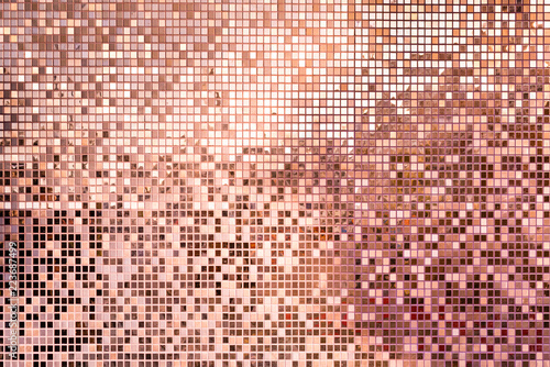 Fotografie, Obraz Pink rose gold square mosaic tiles for background