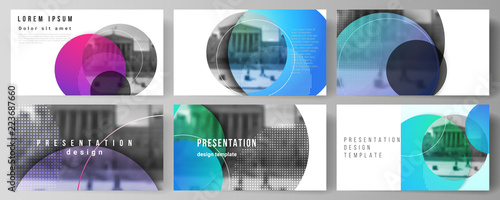 Obraz The minimalistic abstract vector illustration of the editable layout of the presentation slides design business templates. Creative modern bright background with colorful circles and round shapes. - fototapety do salonu