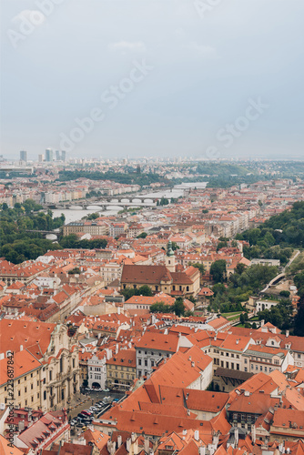 aerial view of beautiful prague old town cityscape and Vltava river