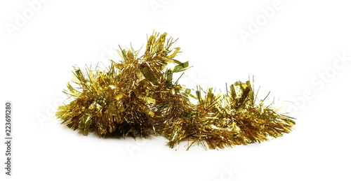 Obraz Golden, yellow tinsel, Christmas ornament, decoration, isolated on white background - fototapety do salonu