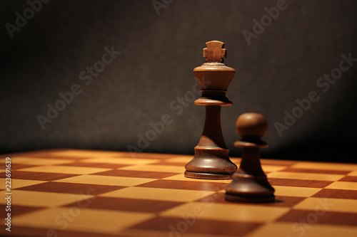 King and Pawn on a chessboard Canvas Print
