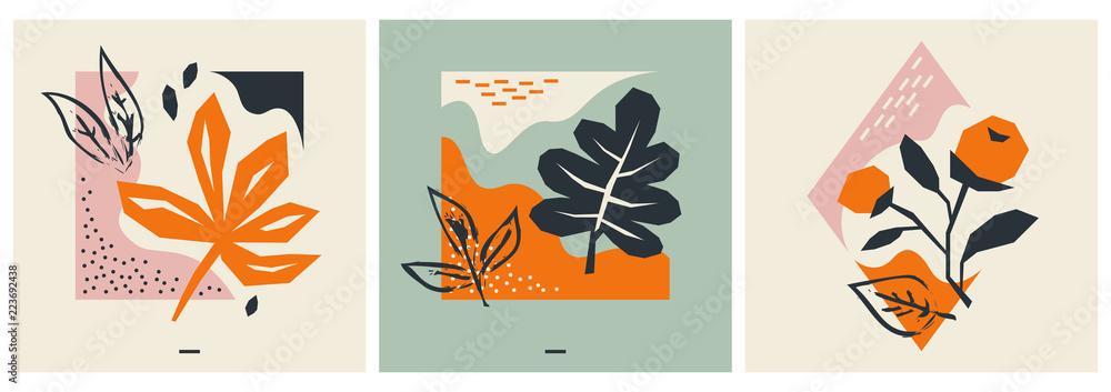 Fototapeta set of autumn greeting cards