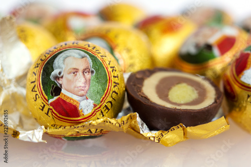 Garden Poster Vienna he Mozartkugel, a sweet confection made of chocolate and marzipan, is a culinary specialty of Salzburg named after the famous musican Wolfgang Amadeus Mozart