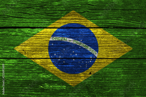 Foto  Brazil Flag on the wooden wall
