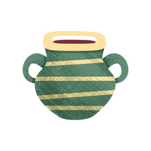 Small Green Ceramic Pot With Stripes And Two Handles. Old Vessel For Liquids. Antique Clay Vase. Flat Vector Icon With Texture