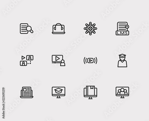 Online Education Icons Set Education E Learning And Online Education Icons With Online Knowledge Video Meeting And Learning Management System Set Of Database For Web App Logo Ui Design Buy This Stock