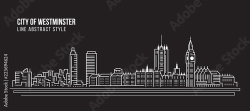 Foto auf Leinwand Schwarz Cityscape Building Line art Vector Illustration design - city of westminster
