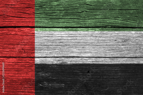 Fotografie, Obraz  UAE Flag on the wooden wall