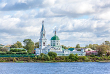St. Catherine's Convent. Russia, The City Tver. View Of The Monastery From The Volga River. Picturesque Clouds In The Sky. Summer Or Autumn Day.
