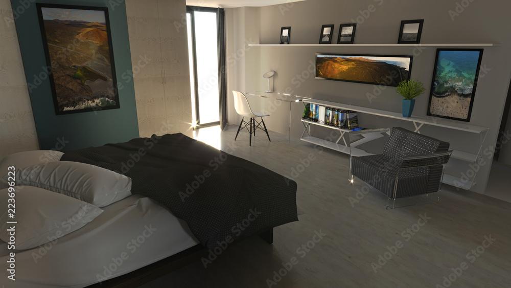 Photo & Art Print Camera da letto in stile moderno con ...
