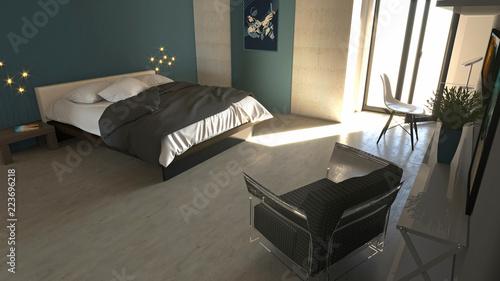 Camera da letto in stile moderno con armadi ed arredamento ...