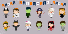 Mega-set Of Halloween Symbols. Twelve Pretty Children In Different Costumes For Halloween Isolated On A Blue Background. Cartoon, Flat, Vector