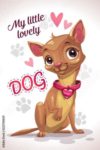 Poster de jardin Chambre bébé My little lovely dog. Cute cartoon sitting chihuahua puppy.