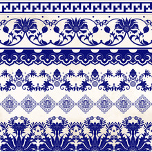Set Of Vector Seamless Borders. Floral And Abstract Ornament In Chinese Style On Watercolor Background. Imitation Of Chinese Porcelain Painting.
