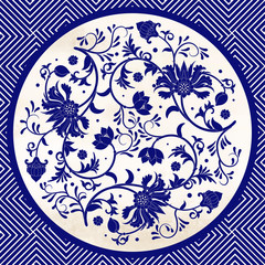 Fototapeta Orientalny Vector background with beautiful floral round pattern in chinese style. Imitation of chinese porcelain painting.