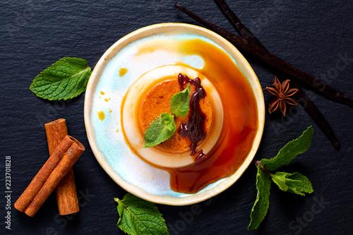 Fotografie, Tablou Food Dessert concept homemade vanilla Caramel custard or panna cotta with vanill
