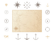 Old Vintage Map With Icons. Compass Roses. Vector Illustration Isolated On White Background
