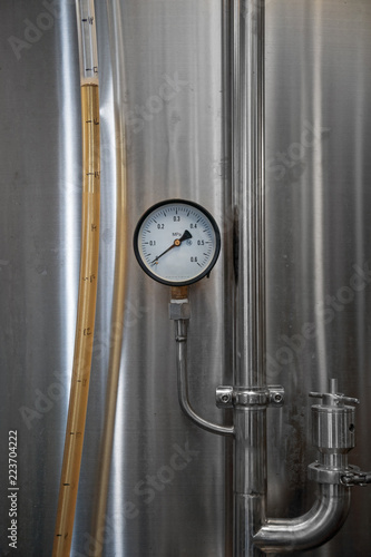 Poster Bier / Cider Stainless tank for fermentation in a beer brewery.