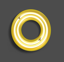 Bright Neon Font With Fluorescent Yellow Tubes. Number 0 . Night Show Alphabet. 3d Rendering Isolated On Gray Background
