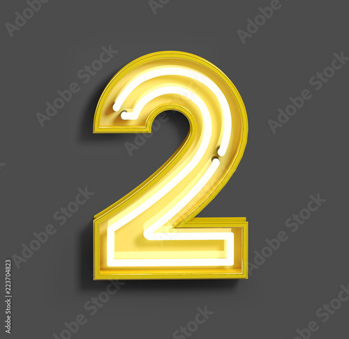 Fototapeta Bright Neon Font with fluorescent yellow tubes. Number 2 . Night Show Alphabet. 3d Rendering Isolated on Gray Background obraz
