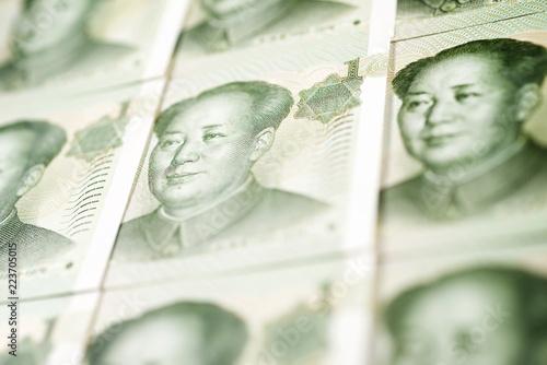 Fotografie, Obraz  Yuan banknotes view