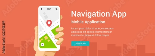 Vector flat banner for navigation application Fototapeta