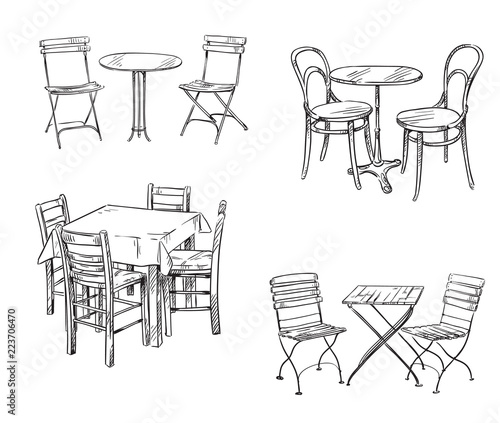 Obraz na plátne Sets of tables and chairs. Furniture sketch.