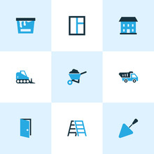 Construction Icons Colored Set With Door, House, Tipper And Other Open   Elements. Isolated Vector Illustration Construction Icons.