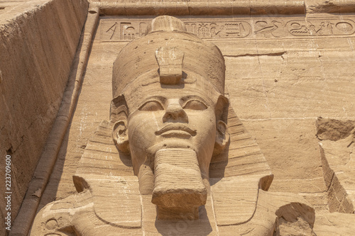 Fotografie, Obraz  Detail of exterior temple of Abu Simbel, the Great Temple of Ramesses II, Egypt