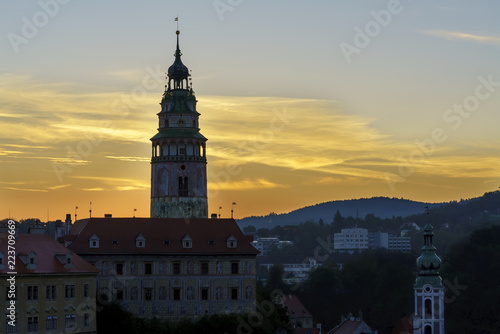 Photo  Close up beautiful Cesky Krumlov castle tower , listed as a national heritage si