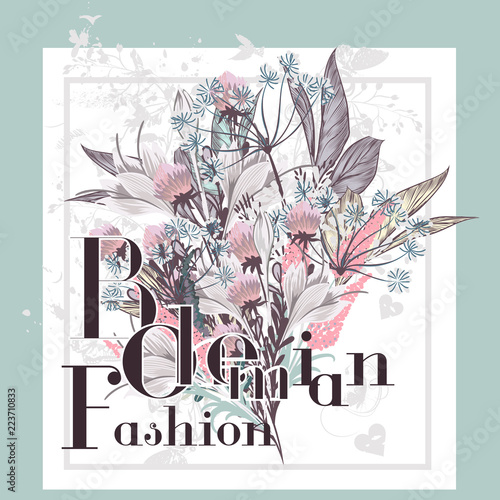 Fototapety, obrazy: Beautiful print with flowers ideal for T-shirts or greeting save the date cards. Bohemian fashion