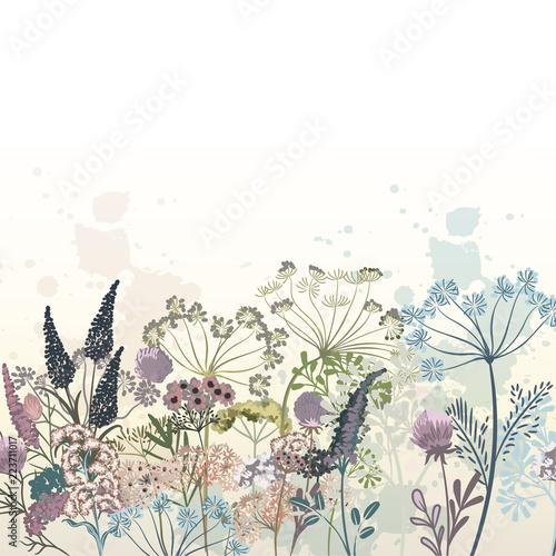 Fotografía  Beautiful vector hand drawn flowers illustration for design