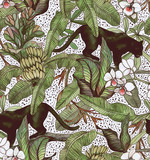 Tropical leaves, bananas, panther and orchid. Vintage pattern. Wallpapers with tropical flowers and leaves - 223711472