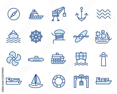 Photo Hafen, Schiffe / Maritim Vector Icon Illustration Set