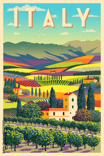 Romantic rural landscape in sunny day in Italy with vineyards, farms, meadows, fields and trees in the background.