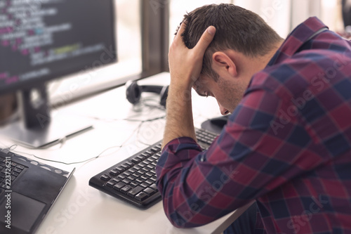 Fototapeta Software developer stressed out obraz