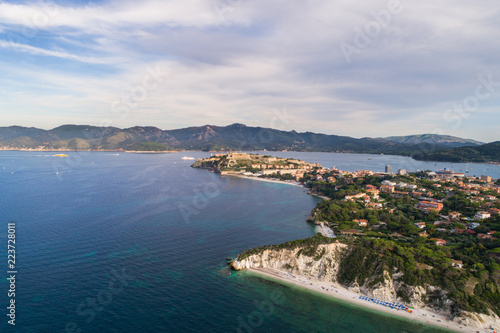 Papiers peints Morning Glory Elba Island, panoramic view of Portoferraio and beach of Capobianco