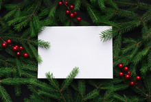 Fir Tree Branches With Red Christmas Balls Frame
