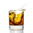 Leinwanddruck Bild - Whisky glass with splashes, isolated on white