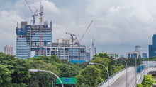 Construction Site Of A Modern Skyscraper In Singapore Timelapse