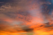 Beautiful twilight sky with orange and blue colour dramatic cloud.