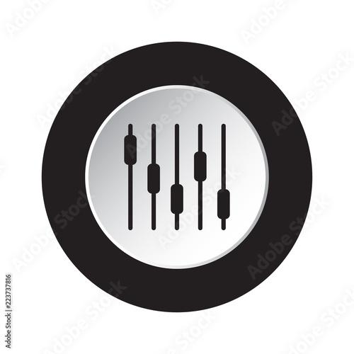 Fotografie, Obraz  round black, white icon - mixing, equalizer symbol