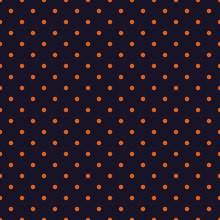 Seamless Orange Polka Dot On Purple Background