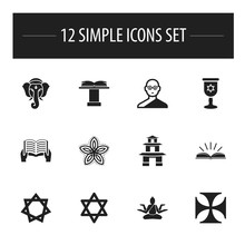 Set Of 12 Editable Dyne Icons. Includes Symbols Such As David Star, Hinduistic Goddess, Holy Writ And More. Can Be Used For Web, Mobile, UI And Infographic Design.