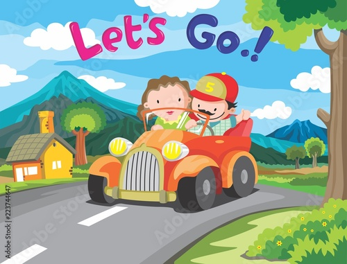 Staande foto Cartoon cars Cartoon , a man with his girl journey in the village, vector eps 10