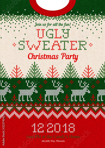 2ee5c08d53c07 Ugly sweater Christmas party invite. Vector illustration Handmade knitted  background pattern with deers