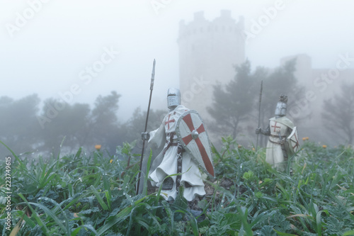 Photo  soldati templari in battaglia